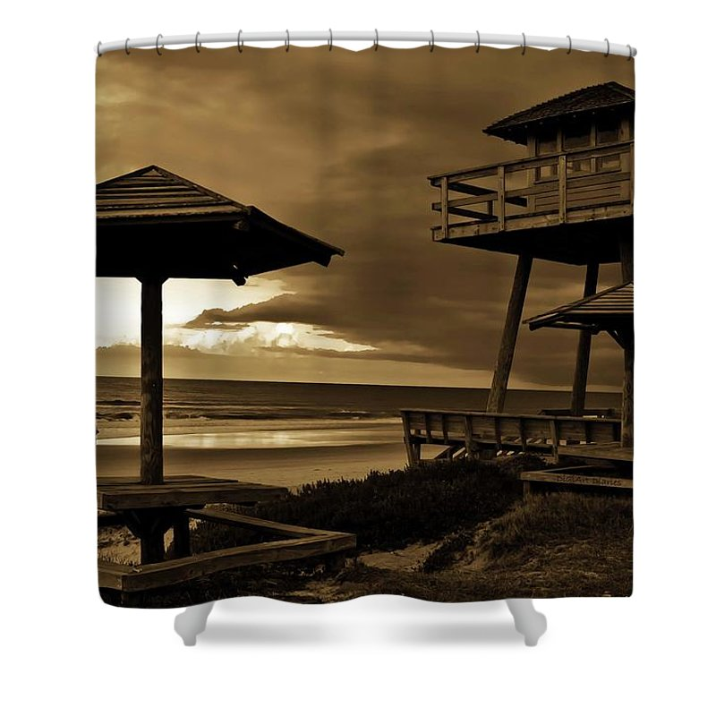 Shore Shower Curtain featuring the photograph World War II Coastal Watchtower by DigiArt Diaries by Vicky B Fuller