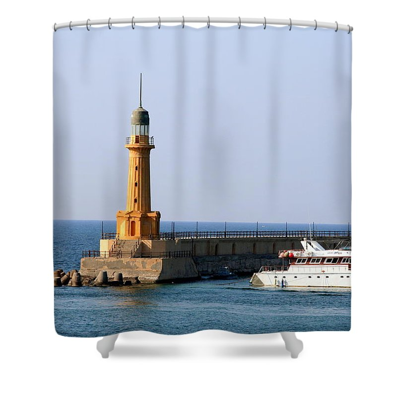 Corniche Shower Curtain featuring the photograph Lighthouse Along The Corniche by Laurel Talabere