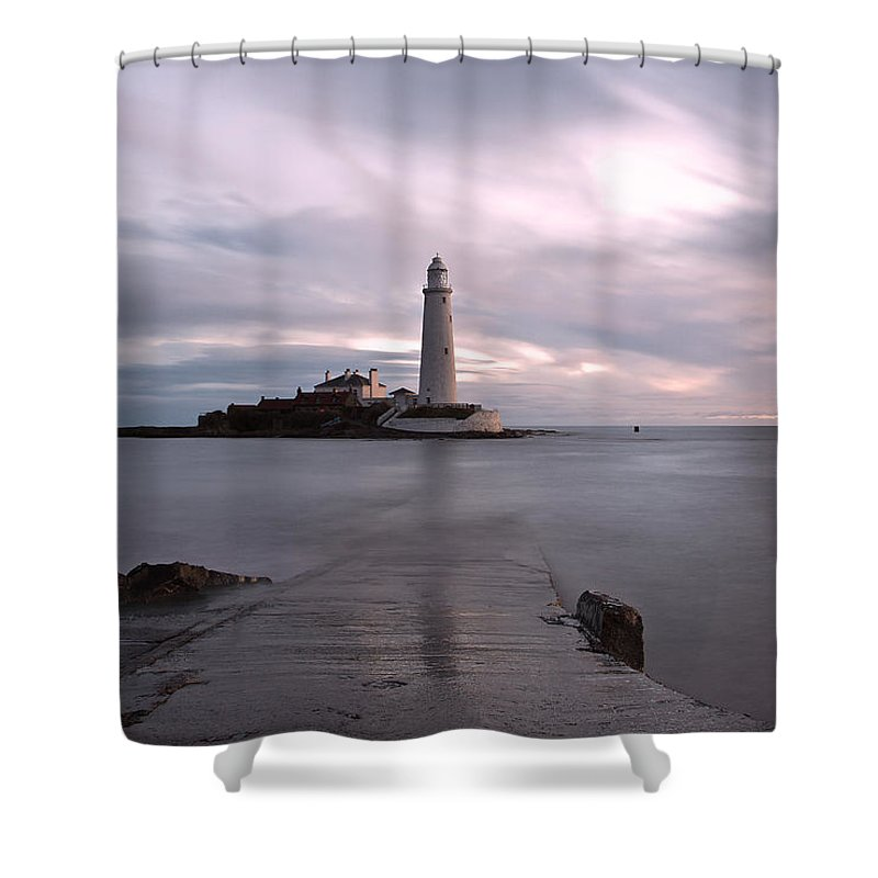 St Marys Lighthouse Shower Curtain featuring the photograph Lighthouse Before Sunrise by David Pringle