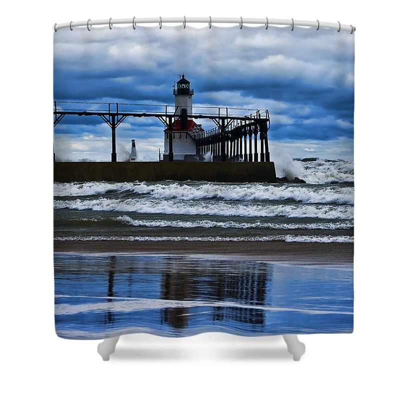 Lighthouse Shower Curtain featuring the photograph Lighthouse Reflections by Scott Wood