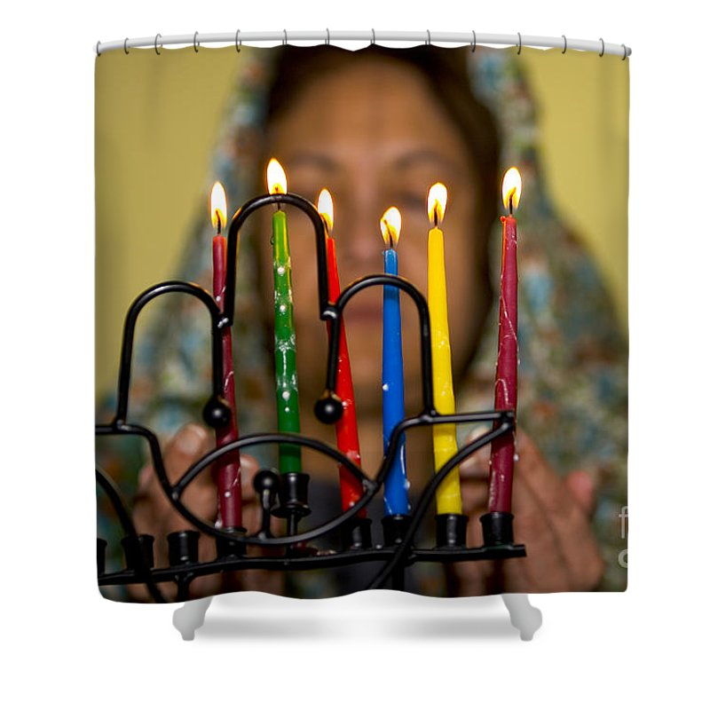 Hanuka Shower Curtain featuring the photograph Lighting The Chanukia by Yossi Aptekar