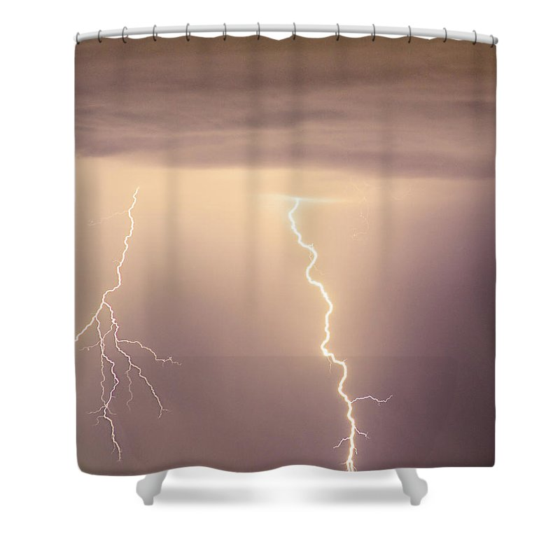 james Insogna Shower Curtain featuring the photograph Lightning Bolt With A Fork by James BO Insogna