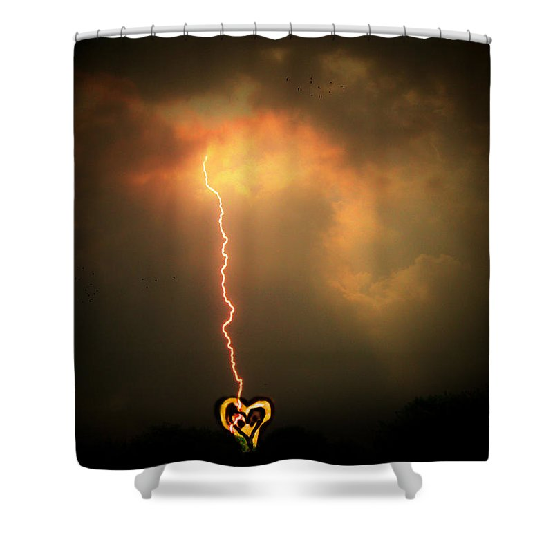 Lightning Shower Curtain featuring the photograph Lightning Strikes The Heart by Trish Tritz