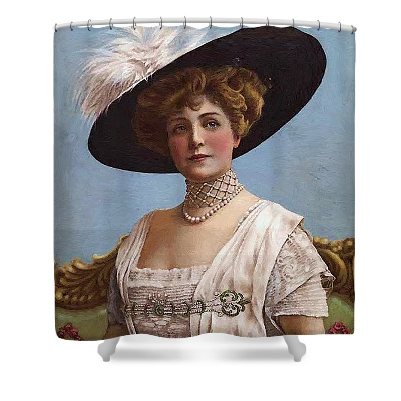 Lillian Russell Cover Magazine Playgoers Theatre Actress Singer 1860 1922 Shower Curtain featuring the painting Lillian Russell On Cover by Steve K