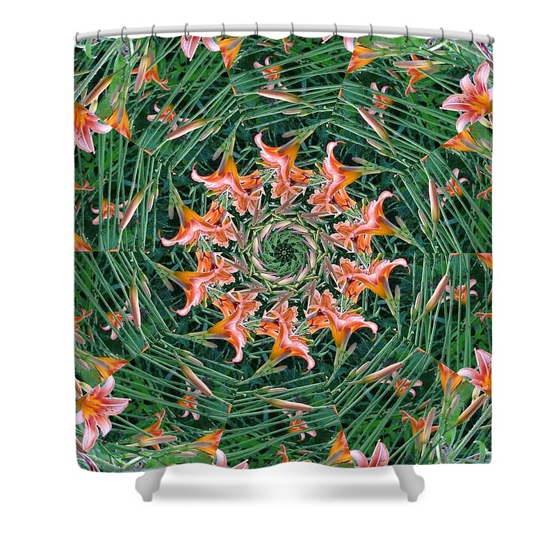 Flowers Shower Curtain featuring the digital art Lilly In Abstract by Rhonda Barrett