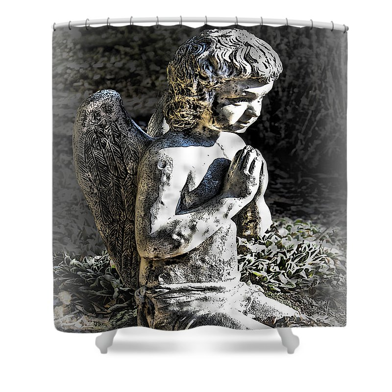 Cultural Artifacts Shower Curtain featuring the photograph Little Angel Statue by Danuta Bennett