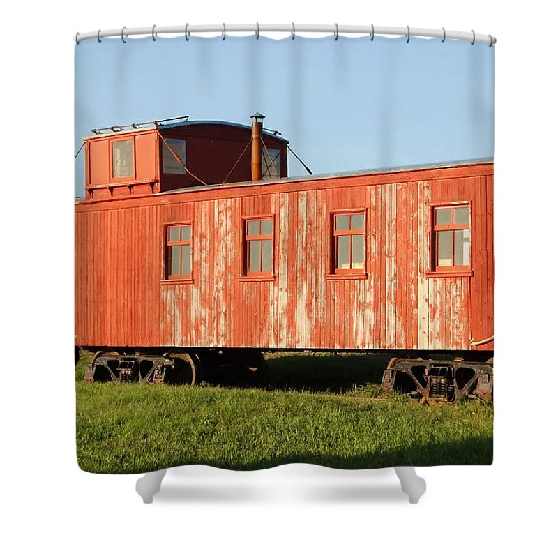Train Shower Curtain featuring the photograph Little Red Caboose by Judy Hall-Folde