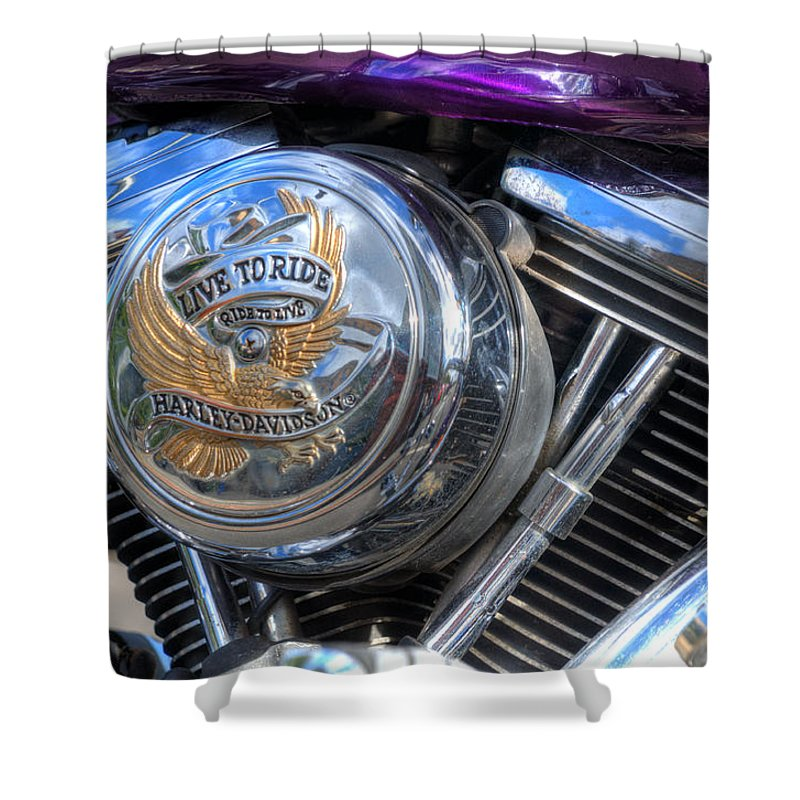 Harley Davidson Shower Curtain featuring the photograph Live To Ride by Steve Purnell
