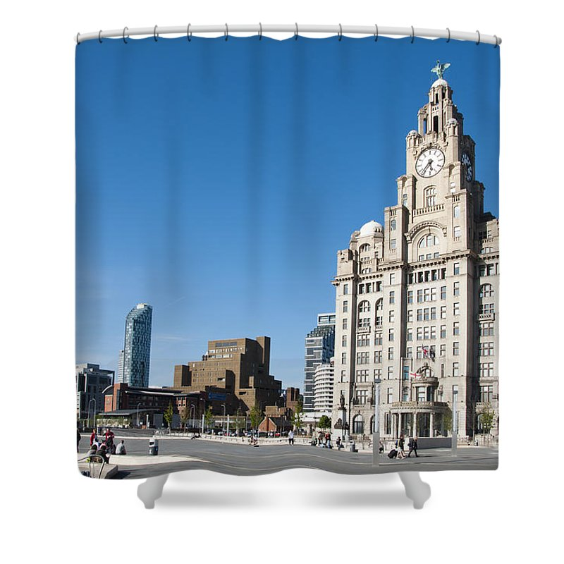 2011 Shower Curtain featuring the photograph Liverpool Skyline by Andrew Michael