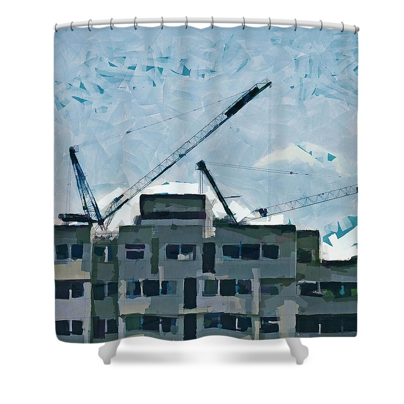 12 By 12 Shower Curtain featuring the photograph Living In A Box by Steve Taylor