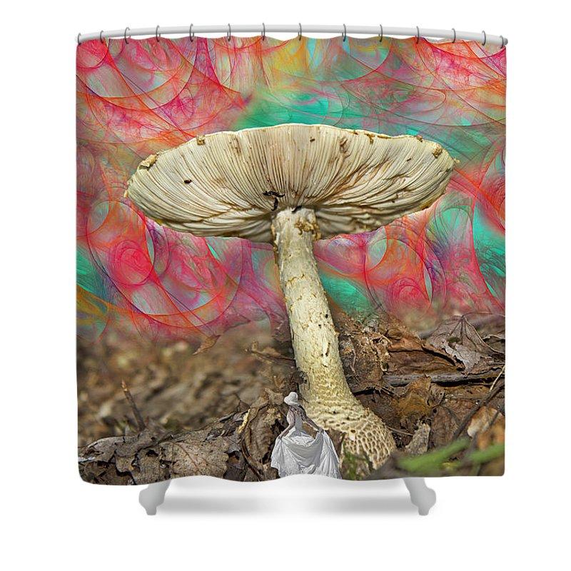 Psycodelic Shower Curtain featuring the digital art Living Myth by Betsy Knapp