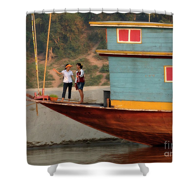 Laos Shower Curtain featuring the photograph Living On The Mekong by Bob Christopher