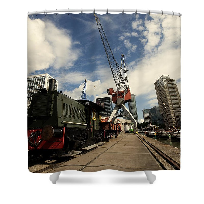 Rotterdam Shower Curtain featuring the photograph Loco On The Docks by Rob Hawkins