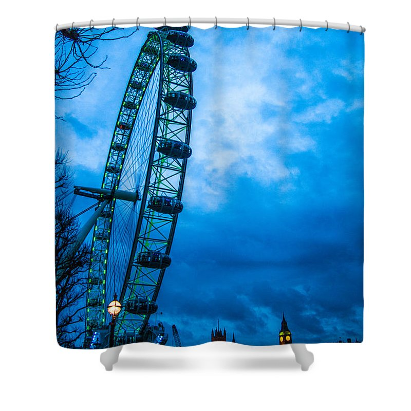 Millennium Wheel Shower Curtain featuring the photograph London Eye At Westminster by Dawn OConnor