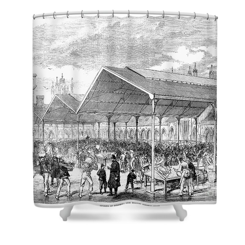 1870 Shower Curtain featuring the photograph London: Fish Market, 1870 by Granger