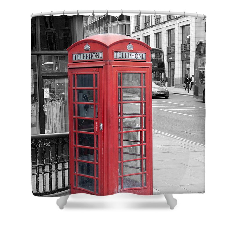 Telephone Box Shower Curtain featuring the photograph London Phone Box by Dawn OConnor