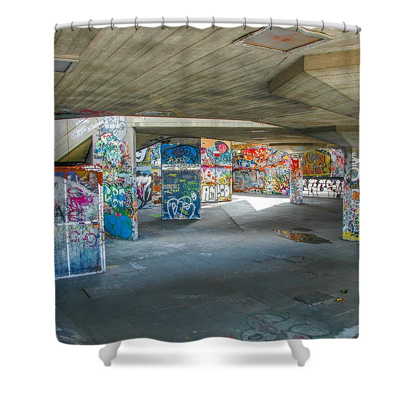 Street Art Shower Curtain featuring the photograph London Skatepark 2 by Jonah Anderson