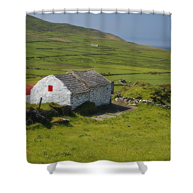 Barn Shower Curtain featuring the photograph Lone Farmhouse On Mizen Head In West by Trish Punch