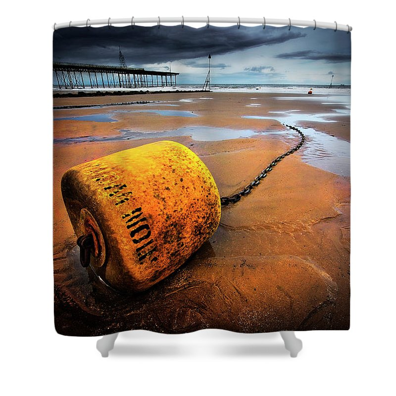 Buoy Shower Curtain featuring the photograph Lonely Yellow Buoy by Meirion Matthias