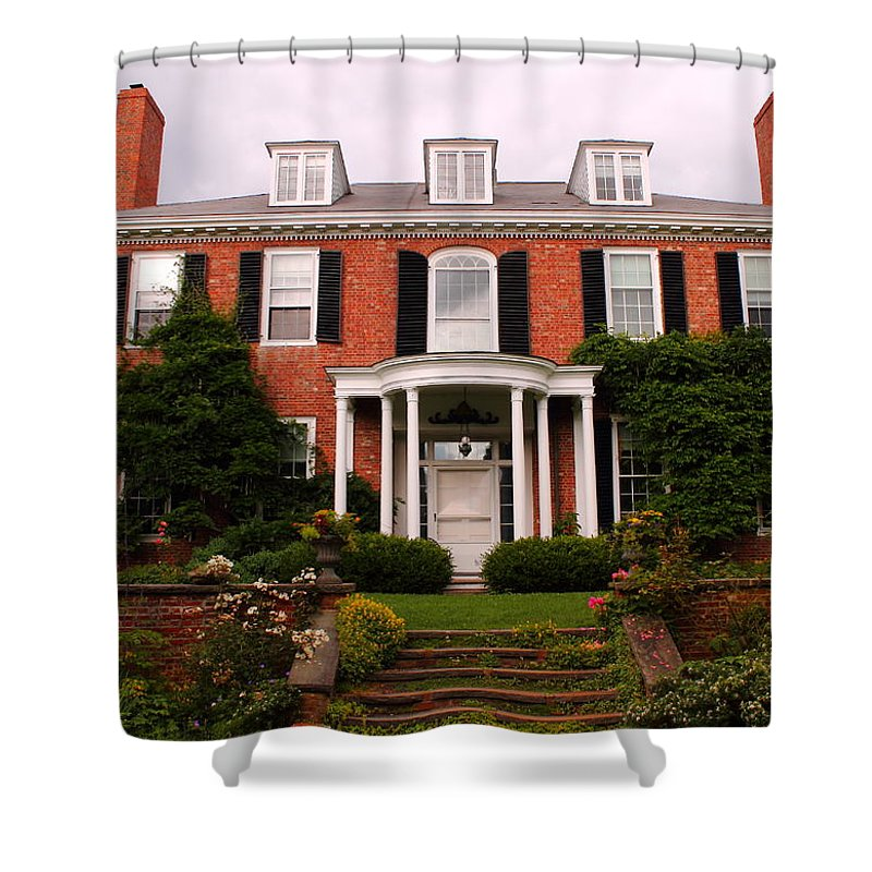 Sedgwick Mansion Shower Curtain featuring the photograph Long Hill by Jeff Heimlich