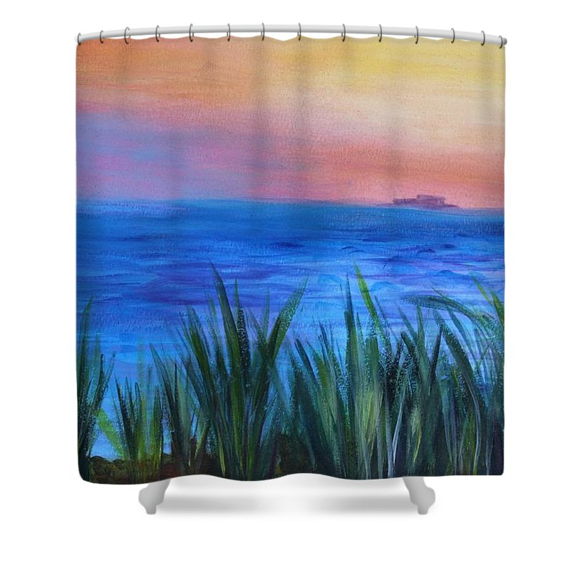 Beach Grass Shower Curtain featuring the painting Long Island Sound Sunset by Donna Walsh