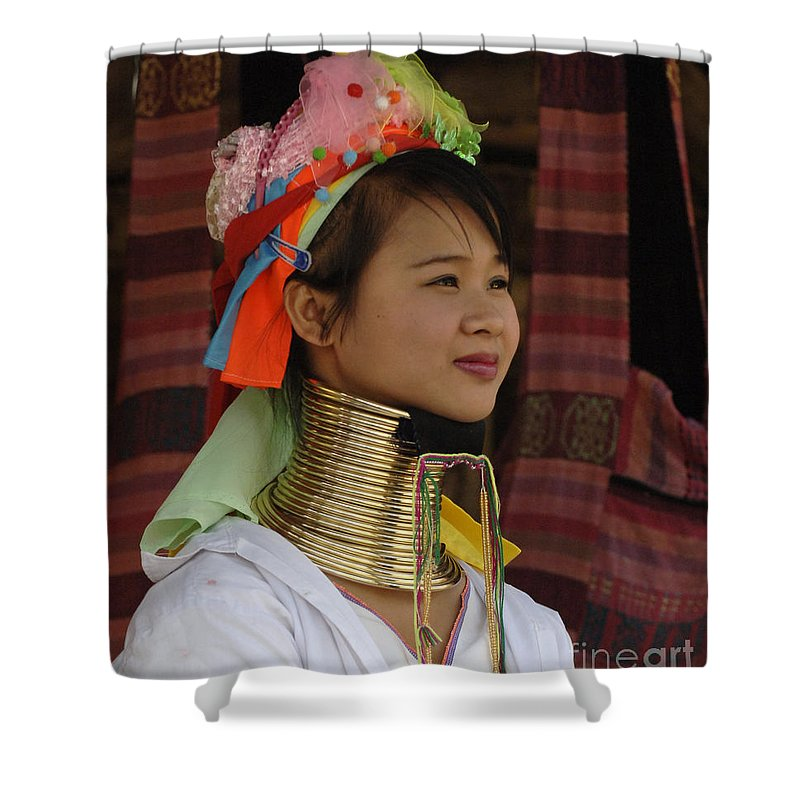 Long Necks Shower Curtain featuring the photograph Long Necked Woman 3 by Bob Christopher