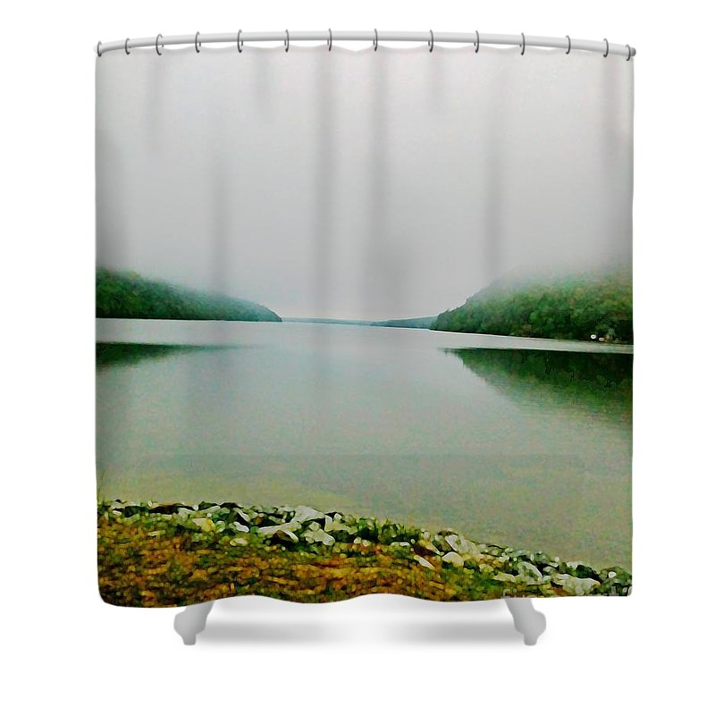 Mountain Shower Curtain featuring the photograph Long Pond Morning by Lizi Beard-Ward