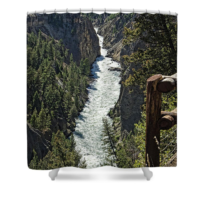 Yellowstone National Park Shower Curtain featuring the photograph Long River View by Jon Berghoff