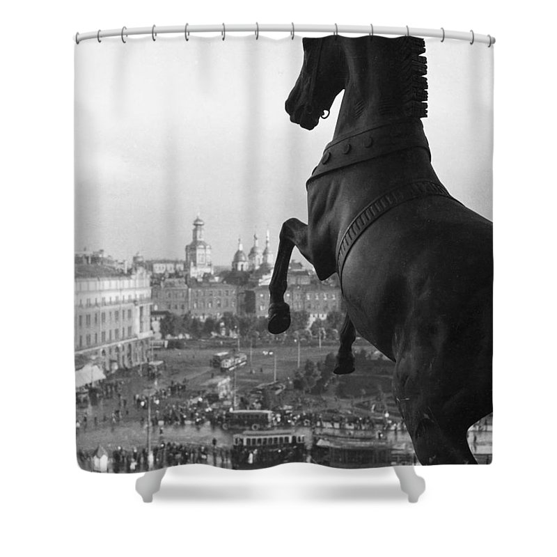 Sverdlov Square Shower Curtain featuring the photograph Looking Down On The Sverdlov Square by Maynard Owen Williams