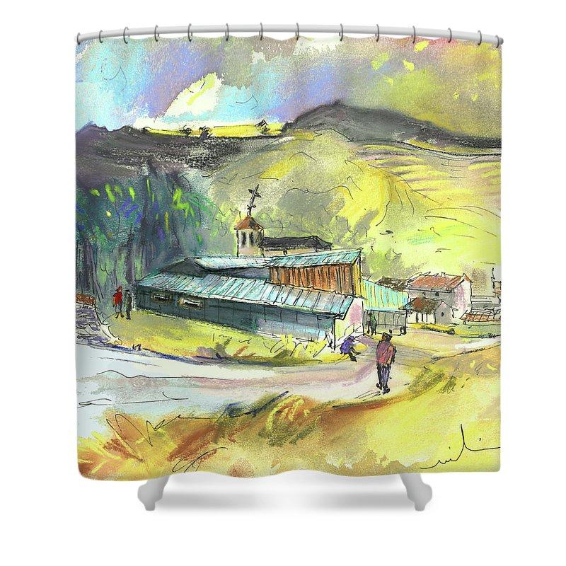 Spain Shower Curtain featuring the painting Los Olmos De Penafiel In Spain 01 by Miki De Goodaboom