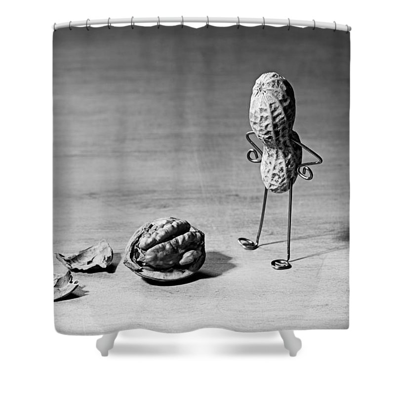 Peanut Shower Curtain featuring the photograph Lost Brains 02 by Nailia Schwarz
