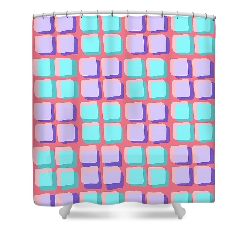 Louisa Shower Curtain featuring the digital art Lots Of Squares by Louisa Knight