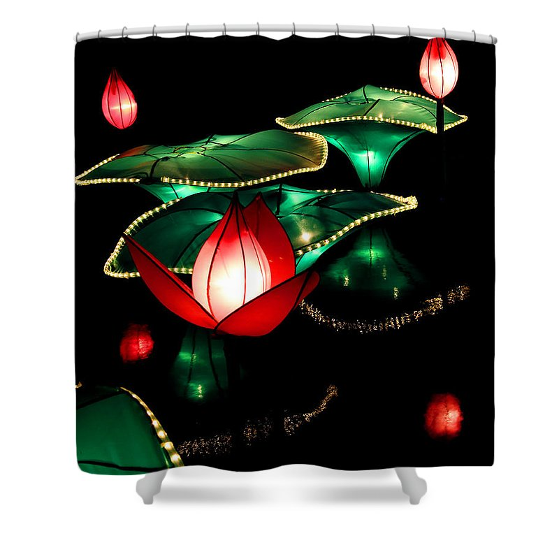 Lanterns Shower Curtain featuring the photograph Lotus Lanterns 4 by Greg Matchick
