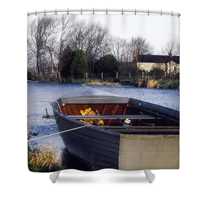 Dusk Shower Curtain featuring the photograph Lough Neagh, Co Antrim, Ireland Boat In by Sici