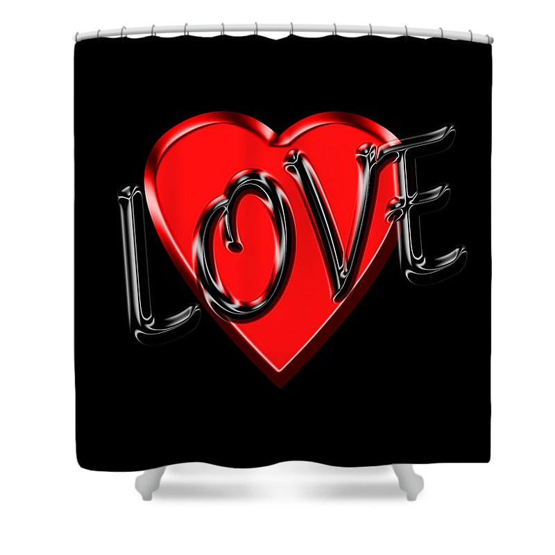 Love Shower Curtain featuring the photograph Love Black And Red 1 by Andrew Fare