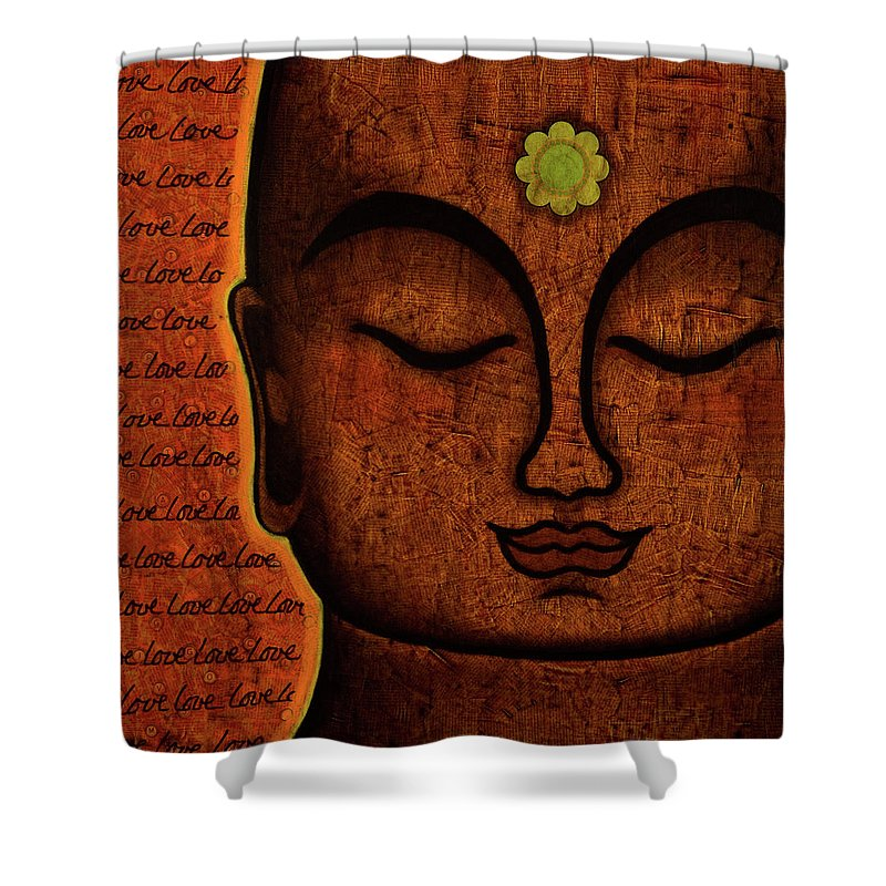 Buddha Shower Curtain featuring the painting Love by Gloria Rothrock