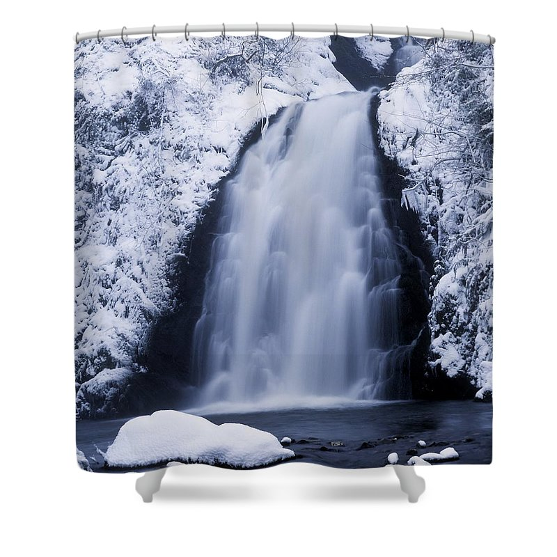 Co Antrim Shower Curtain featuring the photograph Low Angle View Of A Waterfall, Glenoe by The Irish Image Collection
