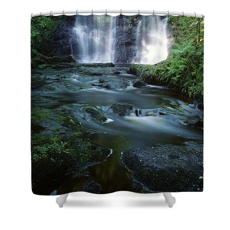 Color Image Shower Curtain featuring the photograph Low Angle View Of A Waterfall by The Irish Image Collection