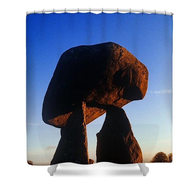 Ancient Civilization Shower Curtain featuring the photograph Low Angle View Of Proleek Dolmen by The Irish Image Collection