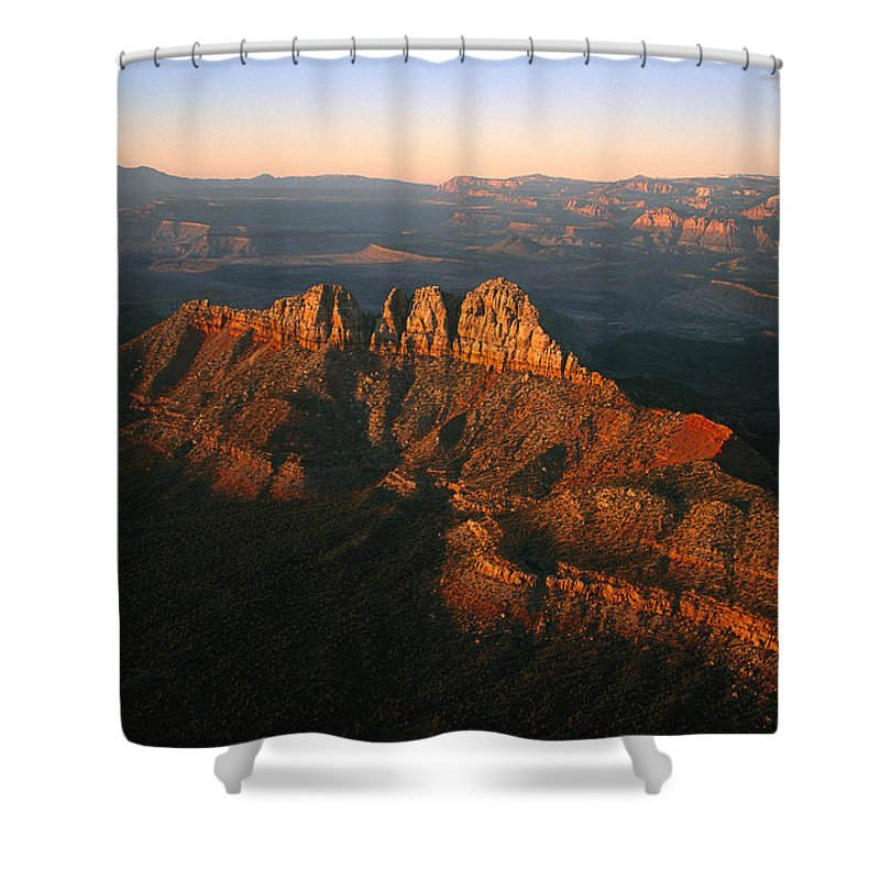 Scenes And Views Shower Curtain featuring the photograph Low Sunlight Shines On Mountains by Melissa Farlow