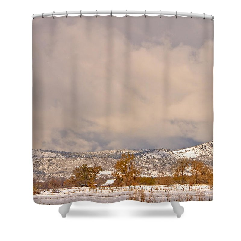 'low Clouds' Shower Curtain featuring the Low Winter Storm Clouds Colorado Rocky Mountain Foothills 5 by James BO Insogna