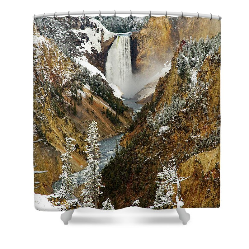 Yellowstone Shower Curtain featuring the photograph Lower Falls by Steve Stuller