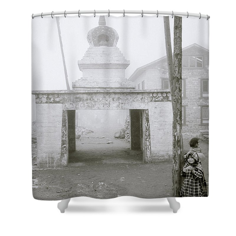 Himalaya Shower Curtain featuring the photograph Lukla In The Himalaya by Shaun Higson