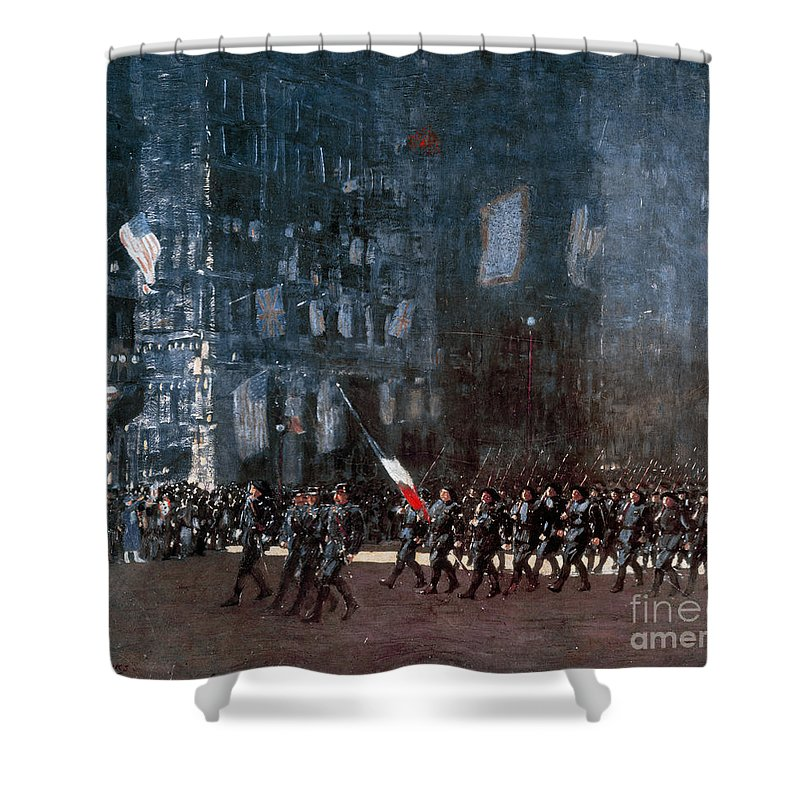 1918 Shower Curtain featuring the painting Luks - Blue Devils 1918 by Granger