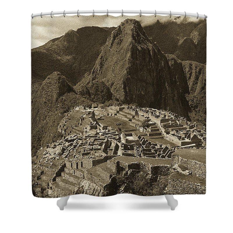 Machu Picchu Shower Curtain featuring the photograph Machu Picchu Sepia by Bruce Bain