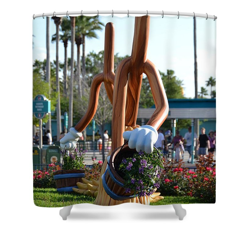 Disney Shower Curtain featuring the photograph Magic Mop by Bonnie Myszka