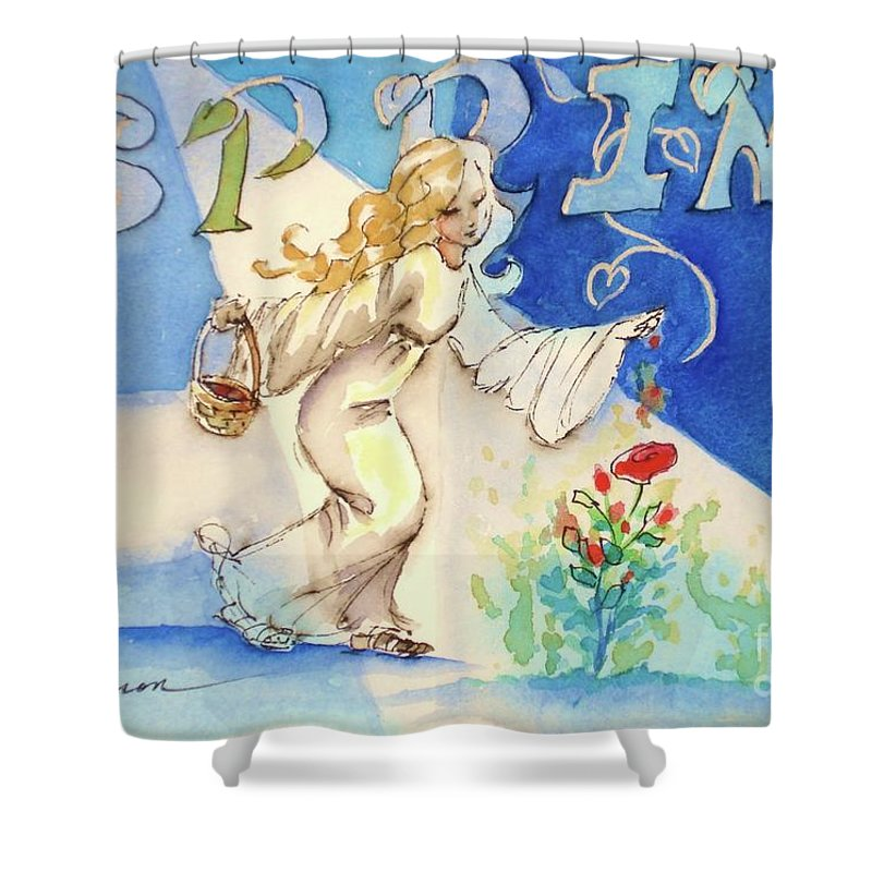 Blue Painting Shower Curtain featuring the painting Magic Of Spring by Marilyn Jacobson