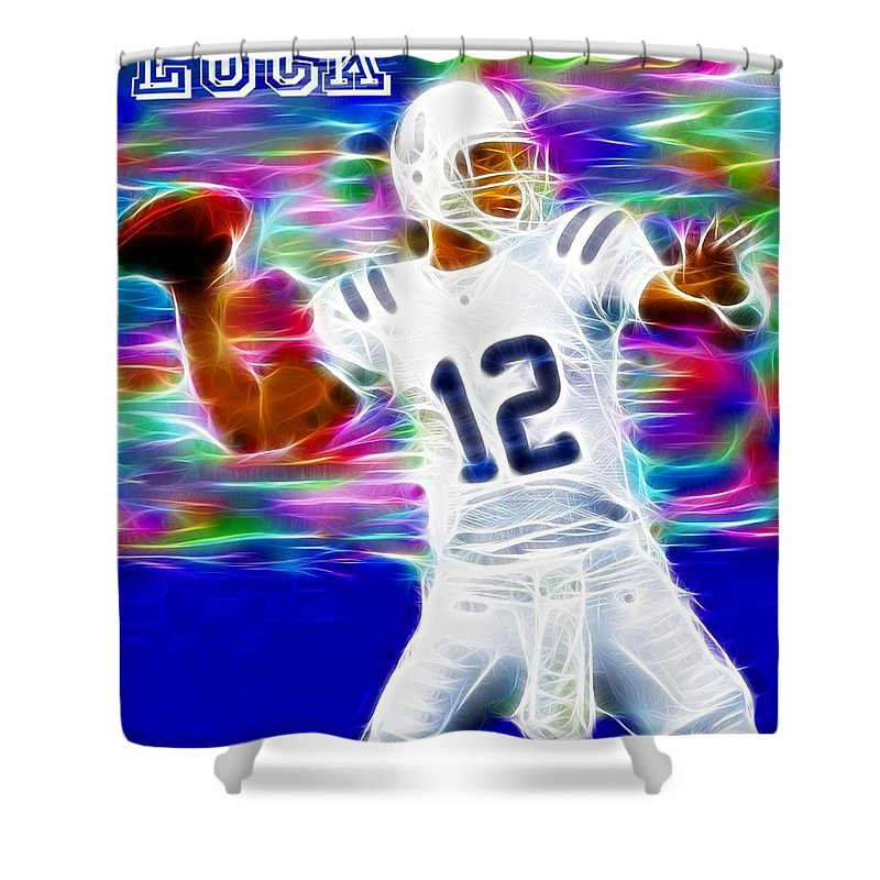 Andrew Luck Shower Curtain featuring the digital art Magical Andrew Luck by Paul Van Scott