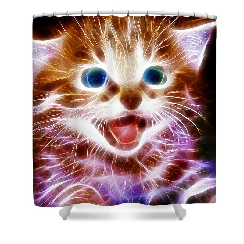 Cat Shower Curtain featuring the painting Magical Kitten by Paul Van Scott