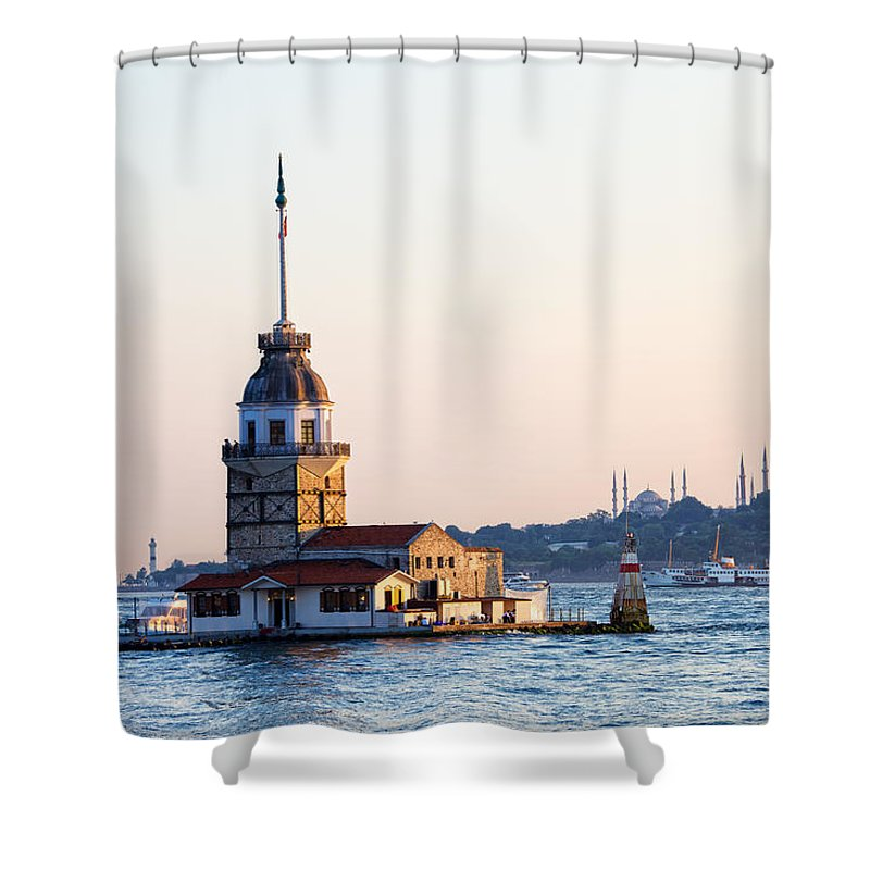 Bosphorus Shower Curtain featuring the photograph Maiden Tower In Istanbul by Artur Bogacki
